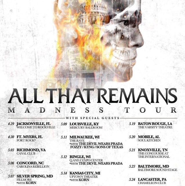 All That Remains Announces U.S. Tour Dates