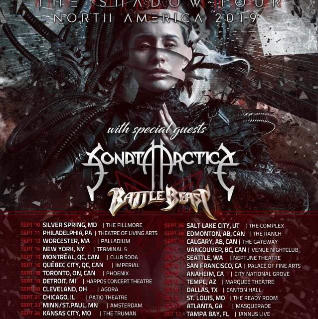 Kamelot announced a 2019 tour w/ Sonata Arctica, and Battle Beast