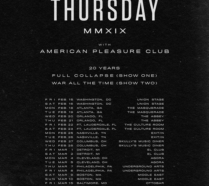 Thursday announced a 20th anniversary tour w/ Vein, and American Pleasure Club